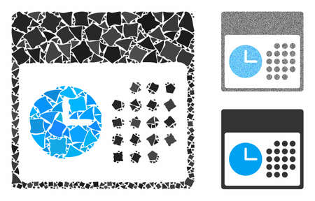 Time and date mosaic of unequal pieces in different sizes and shades, based on time and date icon. Vector rugged pieces are organized into collage. Time and date icons collage with dotted pattern.