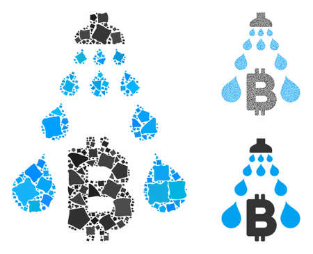 Bitcoin laundering shower composition of joggly items in various sizes and color tones, based on Bitcoin laundering shower icon. Vector raggy dots are composed into collage.