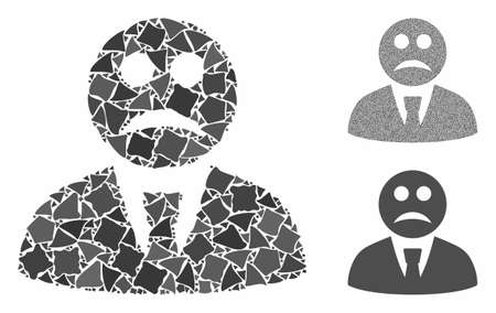 Sad boss mosaic of joggly elements in different sizes and color tinges, based on sad boss icon. Vector tremulant elements are organized into mosaic. Sad boss icons collage with dotted pattern.  イラスト・ベクター素材