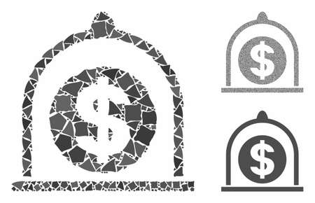 Dollar standard mosaic of ragged pieces in different sizes and color tones, based on dollar standard icon. Vector ragged parts are composed into collage.
