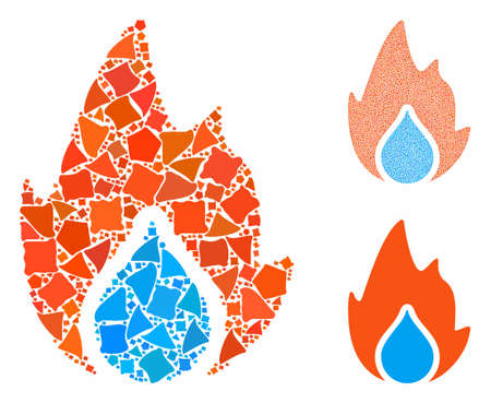 Fire and water drop composition of bumpy pieces in different sizes and color tinges, based on fire and water drop icon. Vector bumpy pieces are combined into collage. Ilustracja