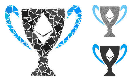 Ethereum award cup mosaic of raggy elements in various sizes and shades, based on Ethereum award cup icon. Vector raggy items are combined into mosaic.