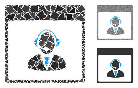 Reception operator calendar page mosaic of bumpy pieces in different sizes and shades, based on reception operator calendar page icon. Vector tuberous elements are combined into mosaic.