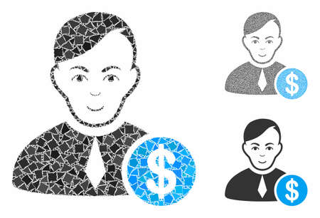 Commercial lawyer mosaic of trembly elements in variable sizes and color tones, based on commercial lawyer icon. Vector irregular elements are united into collage.