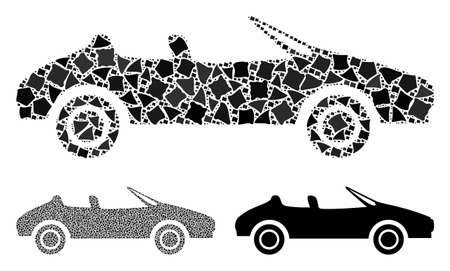 Cabriolet composition of unequal pieces in different sizes and shades, based on cabriolet icon. Vector bumpy pieces are combined into composition. Cabriolet icons collage with dotted pattern.