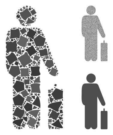 Passenger composition of inequal items in variable sizes and color hues, based on passenger icon. Vector trembly items are united into composition. Passenger icons collage with dotted pattern.