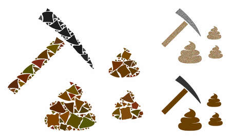 Shit mining composition of bumpy pieces in variable sizes and color tints, based on shit mining icon. Vector ragged pieces are grouped into composition. Shit mining icons collage with dotted pattern. 向量圖像