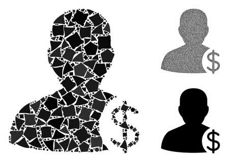 Dollar account client mosaic of uneven parts in variable sizes and shades, based on dollar account client icon. Vector irregular parts are composed into collage. Ilustrace