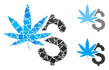Marijuana business composition of rough items in different sizes and color tones, based on marijuana business icon. Vector joggly items are grouped into collage.