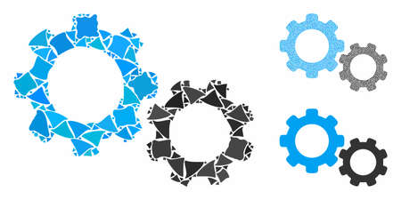 Gears composition of joggly elements in different sizes and color hues, based on gears icon. Vector rough items are composed into collage. Gears icons collage with dotted pattern. Ilustracja