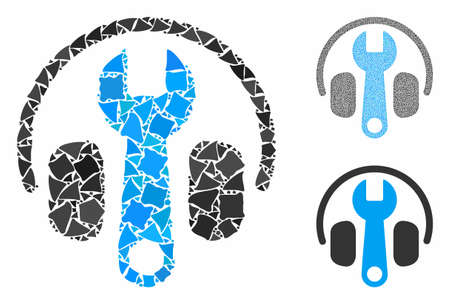 Headphones tuning wrench mosaic of inequal elements in various sizes and color tinges, based on headphones tuning wrench icon. Vector inequal elements are grouped into mosaic.