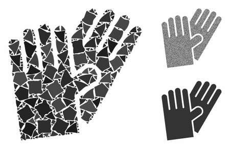 Rubber gloves composition of joggly elements in various sizes and color tinges, based on rubber gloves icon. Vector bumpy items are grouped into composition.