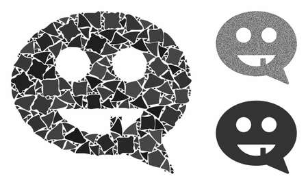 Toothless smiley message composition of abrupt elements in different sizes and color tints, based on toothless smiley message icon. Vector uneven elements are organized into collage.