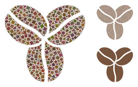 Coffee beans mosaic of rugged pieces in variable sizes and shades, based on coffee beans icon. Vector inequal elements are united into mosaic. Coffee beans icons collage with dotted pattern.