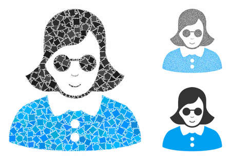 Blind woman composition of tremulant parts in various sizes and shades, based on blind woman icon. Vector humpy elements are united into collage. Blind woman icons collage with dotted pattern.