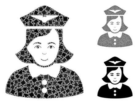 Airline stewardess mosaic of inequal parts in variable sizes and color hues, based on airline stewardess icon. Vector tuberous parts are united into composition.