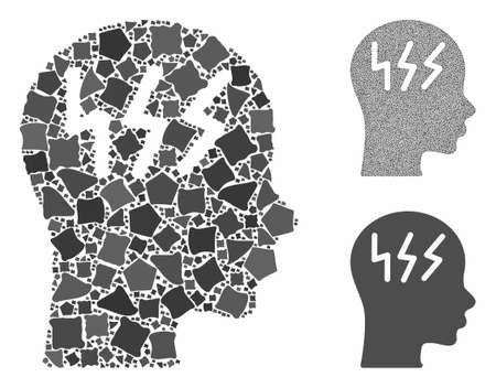 Headache composition of tremulant parts in variable sizes and color tinges, based on headache icon. Vector tremulant parts are composed into collage. Headache icons collage with dotted pattern.