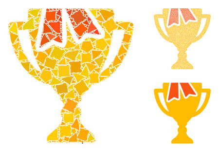 Award bowl mosaic of irregular pieces in various sizes and color hues, based on award bowl icon. Vector rough pieces are united into mosaic. Award bowl icons collage with dotted pattern.
