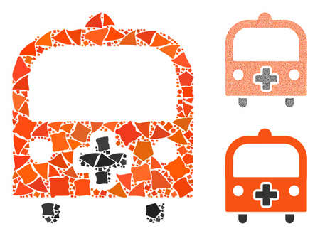 Medical bus mosaic of irregular items in different sizes and color hues, based on medical bus icon. Vector tremulant items are united into collage. Medical bus icons collage with dotted pattern.
