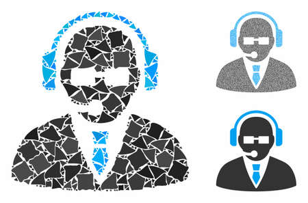 Support manager mosaic of raggy parts in variable sizes and color tones, based on support manager icon. Vector abrupt parts are combined into collage.