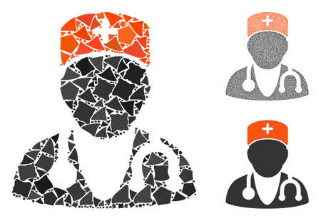 Physician composition of humpy parts in different sizes and shades, based on physician icon. Vector joggly parts are grouped into composition. Physician icons collage with dotted pattern. 일러스트
