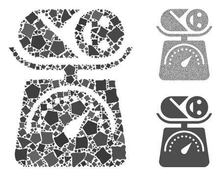 Baby weight composition of uneven elements in various sizes and color tints, based on baby weight icon. Vector raggy elements are organized into collage. Baby weight icons collage with dotted pattern.  イラスト・ベクター素材