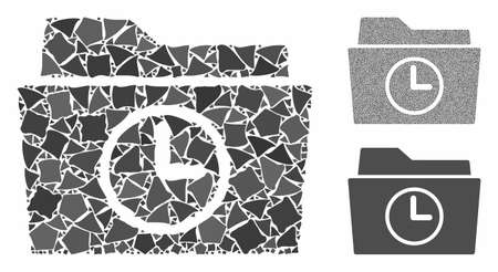 Temporary folder mosaic of bumpy items in different sizes and color tinges, based on temporary folder icon. Vector bumpy dots are grouped into collage. Иллюстрация