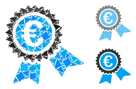 European guarantee seal mosaic of abrupt items in various sizes and color tones, based on European guarantee seal icon. Vector abrupt items are organized into collage.