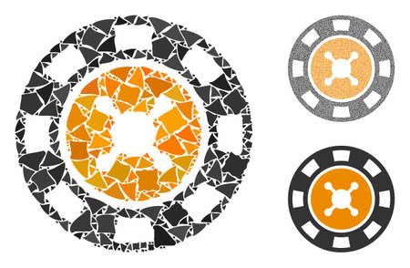 Casino chip mosaic of raggy parts in various sizes and color tints, based on casino chip icon. Vector humpy parts are combined into collage. Casino chip icons collage with dotted pattern.