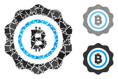Bitcoin seal stamp composition of rugged pieces in various sizes and color tones, based on Bitcoin seal stamp icon. Vector unequal pieces are grouped into composition.