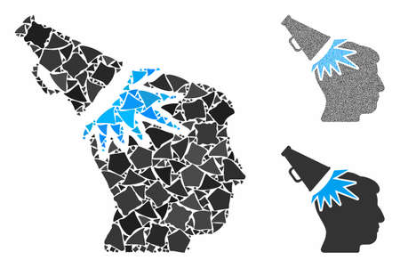 Megaphone impact head composition of rough elements in various sizes and color tints, based on megaphone impact head icon. Vector ragged elements are grouped into collage. Ilustrace