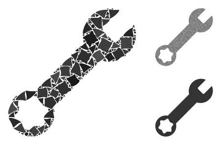 Wrench composition of rugged elements in variable sizes and color tints, based on wrench icon. Vector abrupt elements are composed into composition. Wrench icons collage with dotted pattern.