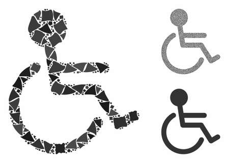 Handicapped mosaic of trembly elements in variable sizes and color hues, based on handicapped icon. Vector inequal elements are combined into mosaic. Handicapped icons collage with dotted pattern. Stock Illustratie