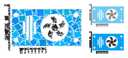 Videocard mosaic of bumpy items in variable sizes and color tints, based on videocard icon. Vector uneven items are grouped into mosaic. Videocard icons collage with dotted pattern. Çizim