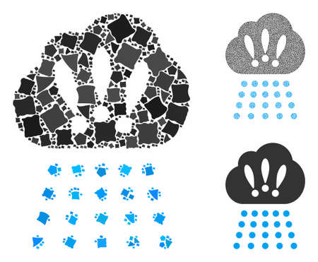 Storm cloud composition of irregular elements in variable sizes and color tints, based on storm cloud icon. Vector irregular items are organized into mosaic.