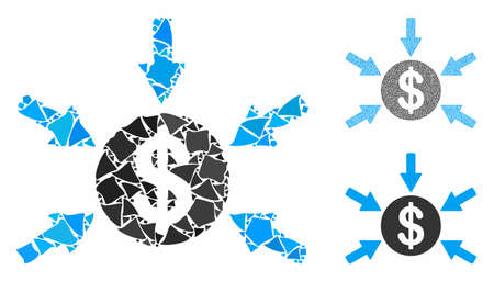 Dollar income arrows mosaic of trembly pieces in variable sizes and color tints, based on dollar income arrows icon. Vector rugged pieces are organized into mosaic.