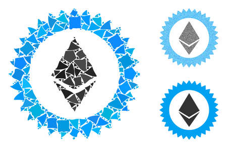Ethereum stamp seal mosaic of raggy elements in different sizes and color tones, based on Ethereum stamp seal icon. Vector trembly elements are united into mosaic. 版權商用圖片 - 131578032