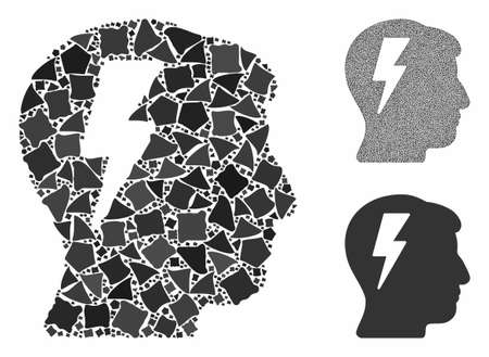 Brainstorming mosaic of rugged parts in different sizes and color tints, based on brainstorming icon. Vector trembly dots are composed into mosaic. Brainstorming icons collage with dotted pattern. Иллюстрация