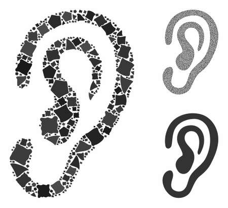 Ear mosaic of irregular pieces in variable sizes and shades, based on ear icon. Vector joggly pieces are grouped into composition. Ear icons collage with dotted pattern.
