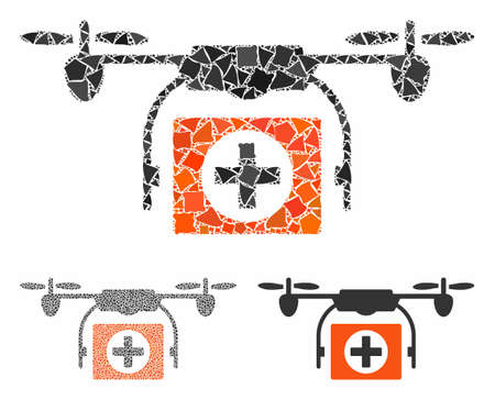 Medical drone composition of ragged elements in different sizes and color tints, based on medical drone icon. Vector uneven elements are organized into collage.
