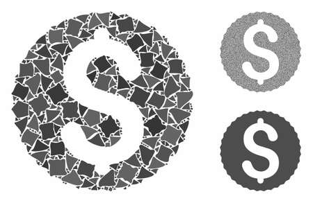 Dollar coin composition of unequal pieces in various sizes and color tints, based on dollar coin icon. Vector tuberous elements are grouped into collage. Dollar coin icons collage with dotted pattern.