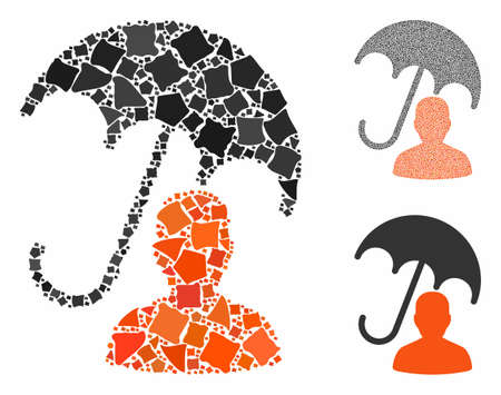 Patient care umbrella composition of raggy items in various sizes and color tones, based on patient care umbrella icon. Vector inequal items are organized into composition. Ilustrace