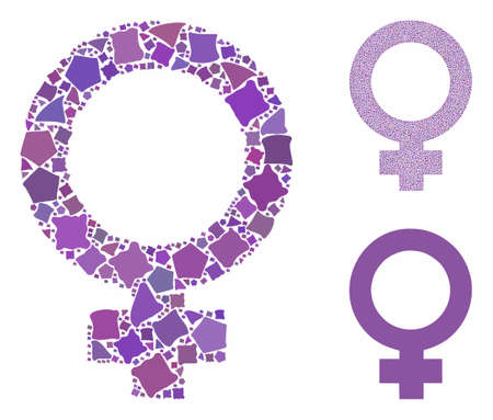 Female symbol composition of unequal pieces in different sizes and color hues, based on female symbol icon. Vector rough parts are composed into collage. Banque d'images - 131581209
