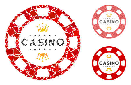 Royal casino chip mosaic of bumpy elements in variable sizes and color tints, based on royal casino chip icon. Vector bumpy items are grouped into collage.
