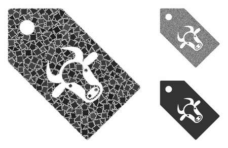 Bull tag composition of trembly parts in variable sizes and color hues, based on bull tag icon. Vector ragged parts are combined into illustration. Bull tag icons collage with dotted pattern.