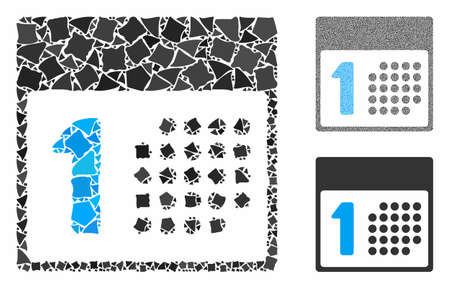 First day mosaic of calendar items in different sizes and color tinges, based on first day icon. Vector calendar items are grouped into collage. First day icons collage with dotted pattern. Иллюстрация