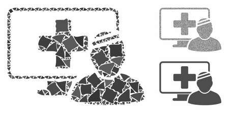 Computer patient composition of tuberous parts in various sizes and color tinges, based on computer patient icon. Vector tuberous dots are grouped into collage. Illustration