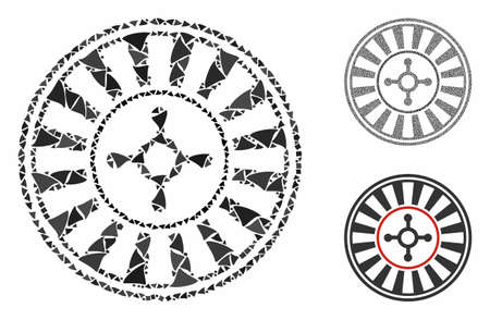 Casino roulette mosaic of humpy elements in different sizes and color tinges, based on casino roulette icon. Vector humpy dots are united into mosaic.