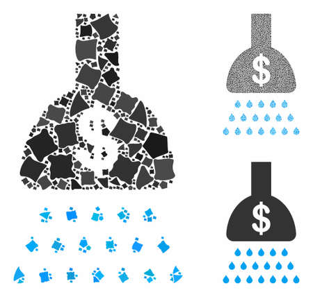 Payment shower mosaic of trembly items in various sizes and shades, based on payment shower icon. Vector joggly pieces are composed into mosaic. Payment shower icons collage with dotted pattern.