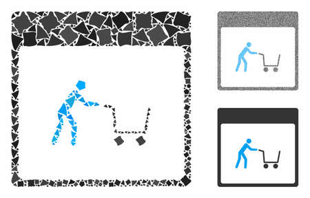 Shopping cart calendar page composition of rugged items in different sizes and shades, based on shopping cart calendar page icon. Vector irregular items are combined into collage.